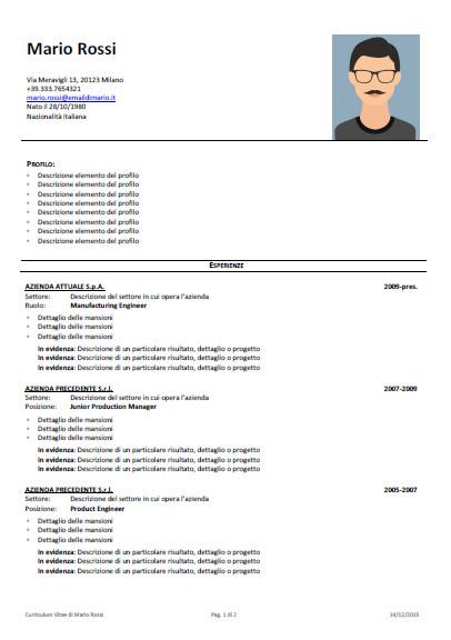 Scrittura Curriculum Vitae e Revisione CV Professionale - Starter Kit - Modello Curriculum pagina 1