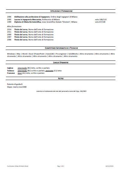 Scrittura Curriculum Vitae e Revisione CV Professionale - Starter Kit - Modello Curriculum pagina 2