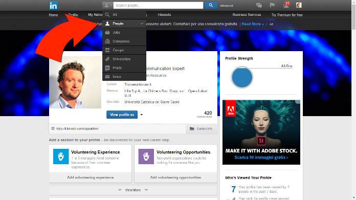 Menu ricerca persone in Linkedin - Paolo Fieni, Trovareunlavoro.it