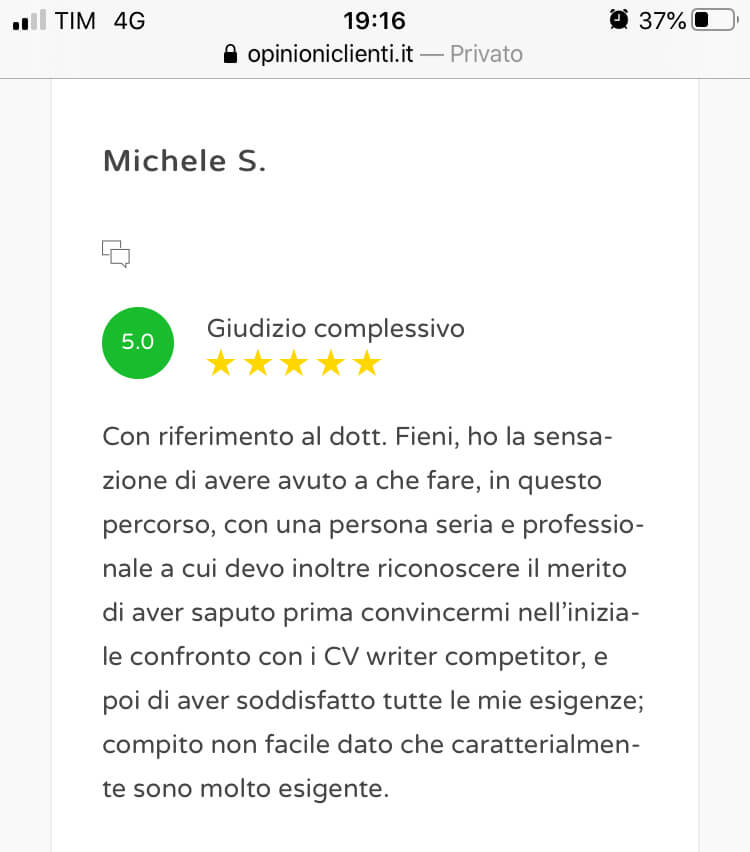 Review scrittura cv 10